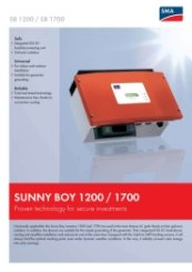 SunnyBoy SB1100-1200-1700 Data Sheet