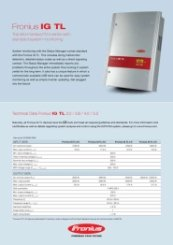Fronius IG TL Range Data Sheet